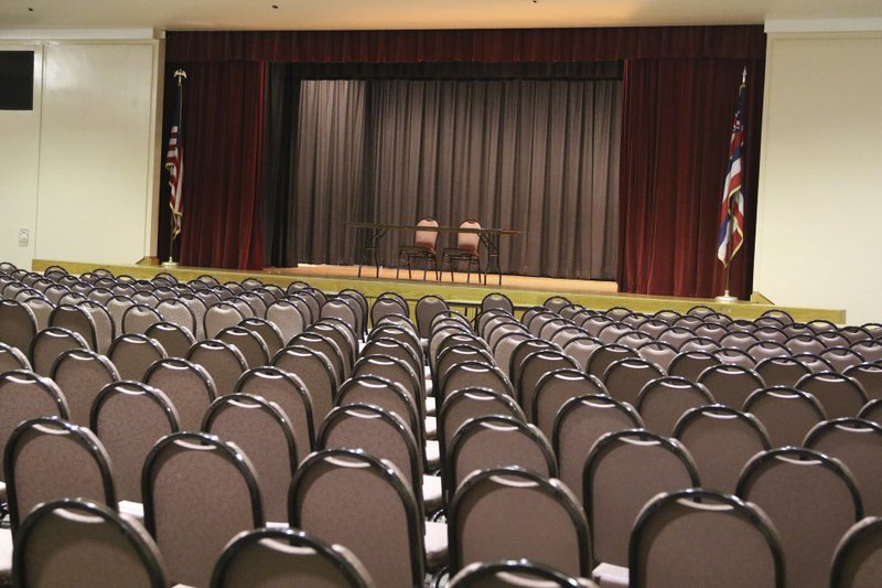In this Thursday, May 7, 2019 photo shows an empty room at the Neal Blaisdell Center in Honolulu as officials get ready to use of the large event venue for jury selection in a corruption case involving the highest levels of the city's law enforcement. (AP Photo/Jennifer Sinco Kelleher)