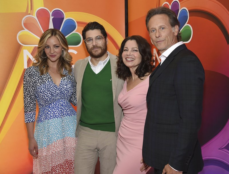 Abby Elliott, from left, Adam Pally, Fran Drescher and Sam Weber, from the cast of
