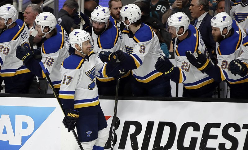St. Louis Blues' Jaden Schwartz (17) is congratulated after scoring a goal against the San Jose Sharks in the first period in Game 2 of the NHL hockey Stanley Cup Western Conference finals Monday, May 13, 2019, in San Jose, Calif. (AP Photo/Ben Margot)