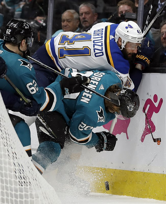 St. Louis Blues' Robert Bortuzzo (41) fights for the puck with San Jose Sharks' Kevin Labanc, left, and Marcus Sorensen (20) during the first period in Game 2 of the NHL hockey Stanley Cup Western Conference finals Monday, May 13, 2019, in San Jose, Calif. (AP Photo/Ben Margot)