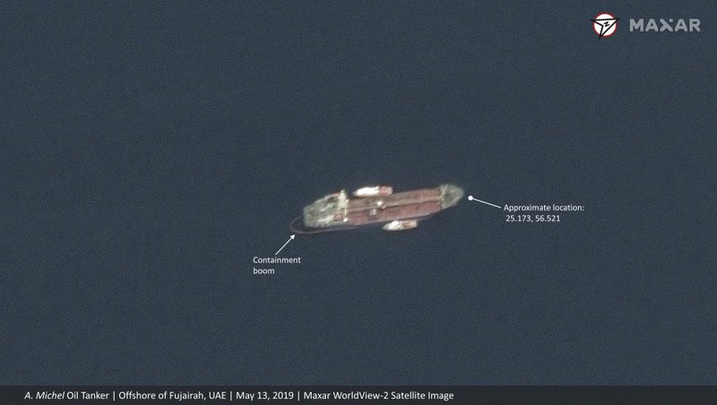 This satellite image provided by Maxar Technologies shows the Emirati-flagged oil tanker A. Michel off the coast of Fujairah, United Arab Emirates, Monday, May 13, 2019. (Satellite image ©2019 Maxar Technologies via AP)