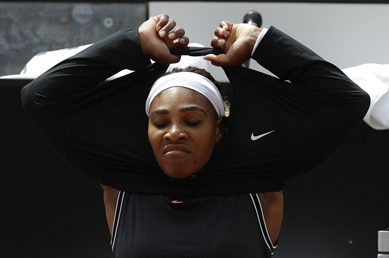 Serena Williams, of the United States, prepares to start her match against Sweden's Rebecca Peterson at the Italian Open tennis tournament, in Rome, Monday, May, 13, 2019. (AP Photo/Gregorio Borgia)