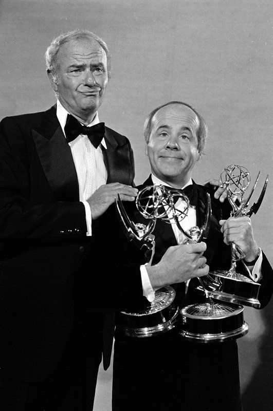 FILE - In this Sept. 18, 1978 file photo, comedians Harvey Korman, left, and Tim Conway show off three Emmy Awards for the