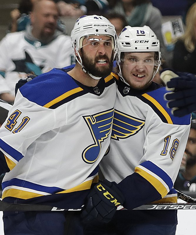 St. Louis Blues' Robert Bortuzzo, left, celebrates with teammate Robert Thomas (18) after scoring a goal against the San Jose Sharks in the second period in Game 2 of the NHL hockey Stanley Cup Western Conference finals, Monday, May 13, 2019, in San Jose, Calif. (AP Photo/Ben Margot)