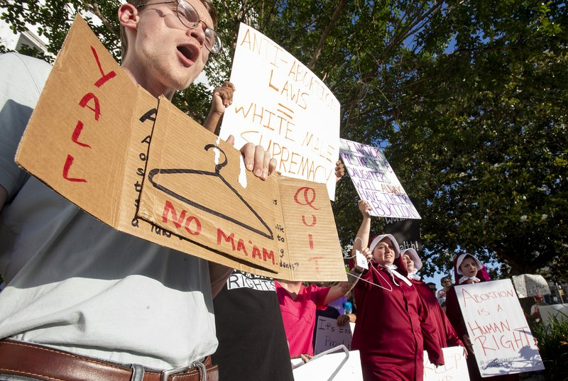 Dana Sweeney chants during a rally against HB314, the near-total ban on abortion bill, outside of the Alabama State House in Montgomery, Ala. (Mickey Welsh/The Montgomery Advertiser via AP)