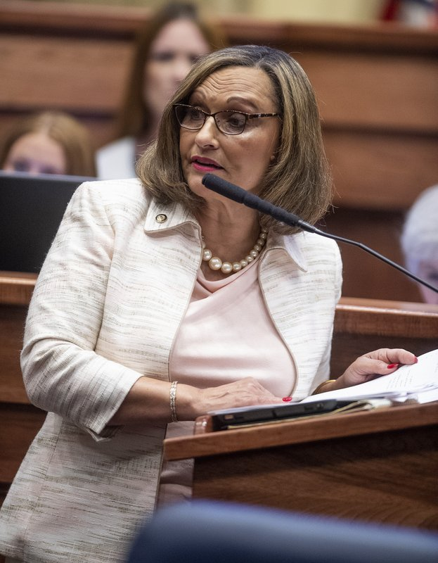 Sen. Vivian Figures speaks as debate on HB314, the near-total ban on abortion bill, is held in the senate chamber in the Alabama Statehouse in Montgomery, Ala. (Mickey Welsh/The Montgomery Advertiser via AP)