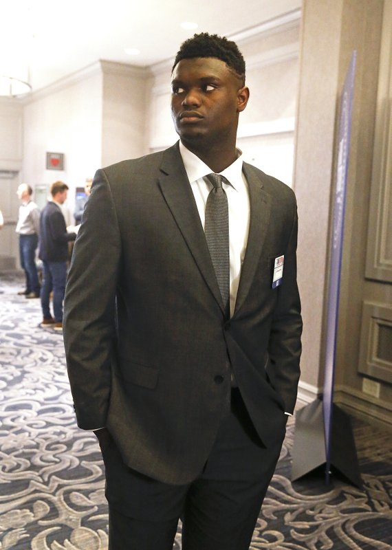 Duke's Zion Williamson arrives for the NBA basketball draft lottery Tuesday, May 14, 2019, in Chicago. (AP Photo/Nuccio DiNuzzo)