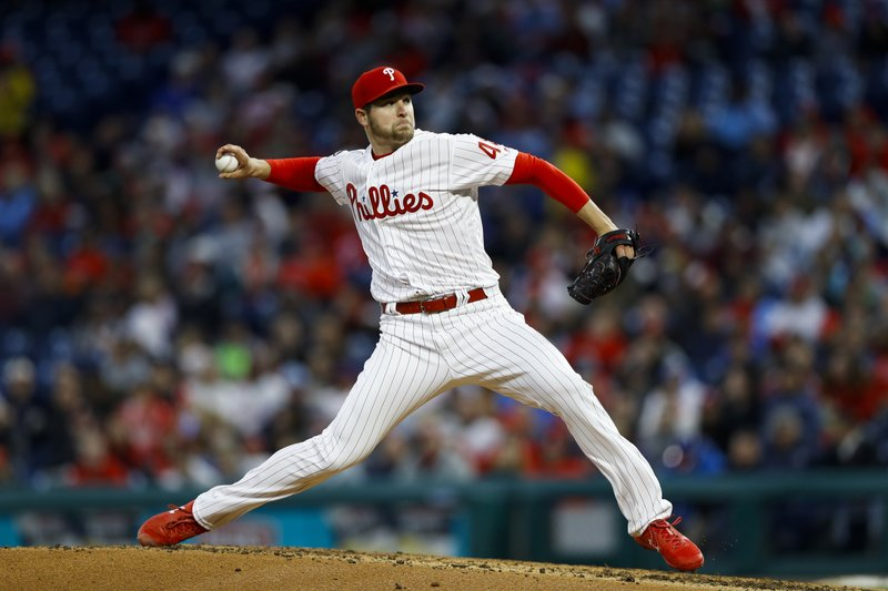 Philadelphia Phillies' Jerad Eickhoff pitches during the third inning of a baseball game against the Milwaukee Brewers, Tuesday, May 14, 2019, in Philadelphia. (AP Photo/Matt Slocum)