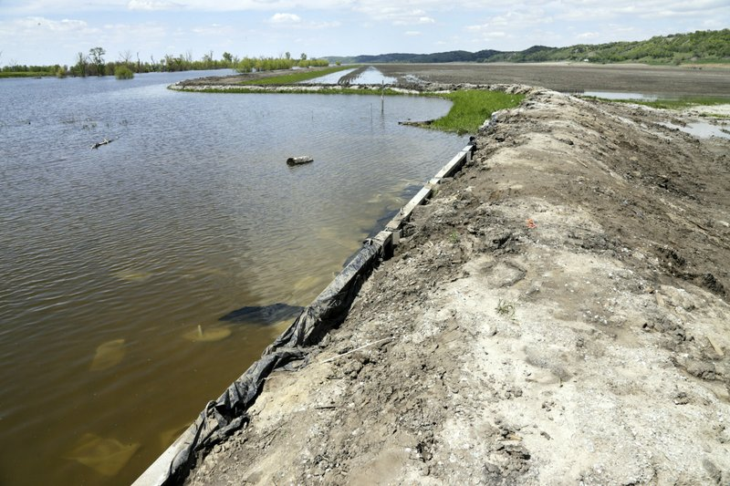 In this May 10, 2019 photo, a makeshift levee holds back flood waters from the Missouri River in Hamburg, Iowa. (AP Photo/Nati Harnik)