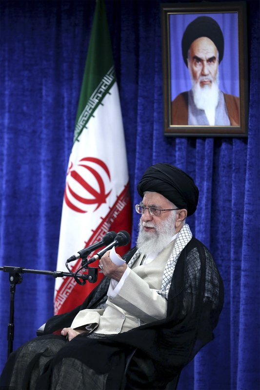In this picture released by an official website of the office of the Iranian supreme leader, Supreme Leader Ayatollah Ali Khamenei speaks in a meeting with governmental officials in Tehran, Iran, Tuesday, May 14, 2019. (Office of the Iranian Supreme Leader via AP)