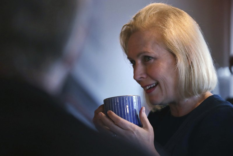 Democratic presidential candidate Sen. Kirsten Gillibrand, D-N.Y., listens to a question during a campaign stop at a coffee shop in Derry, N. (AP Photo/Charles Krupa)