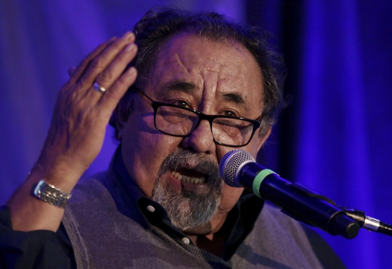 FILE - In this Nov.6, 2018 file photo Democratic U.S. Rep. Raul Grijalva speaks during the Pima County Democratic Party Election Night watch party in Tucson, Ariz. (Mike Christy/Arizona Daily Star via AP,File)
