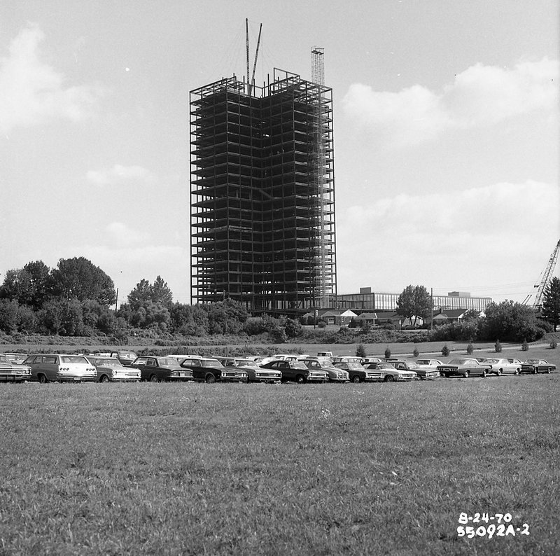 In this undated photo provided by the National Museum of Industrial History, the steel skeleton of Martin Tower in Bethlehem, Pa, is seen in this 1970 photo. (National Museum of Industrial History via AP)