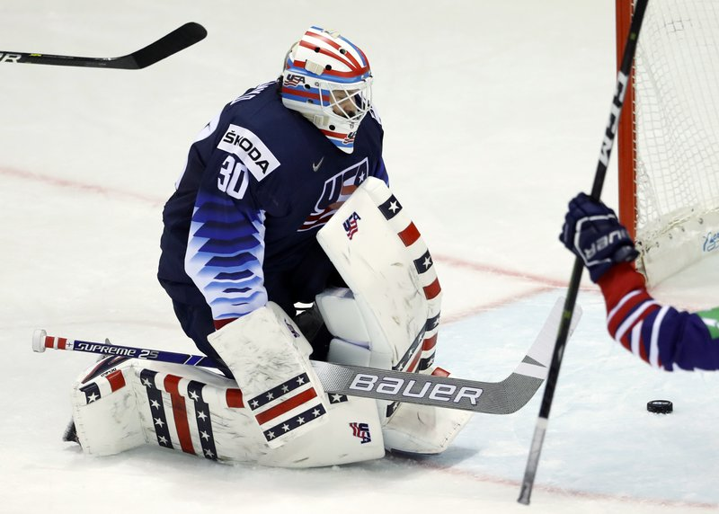 Goaltender Thatcher Demko of the US after failing to make a save during the Ice Hockey World Championships group A match between the United States and Great Britain at the Steel Arena in Kosice, Slovakia, Wednesday, May 15, 2019. (AP Photo/Petr David Josek)