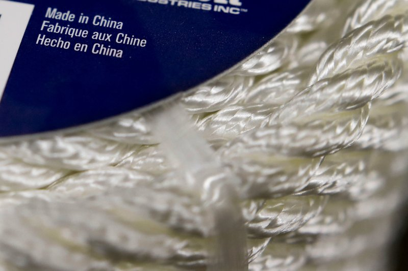 In this May 9, 2019, photo synthetic rope, with labeling indicating it was made in China, is displayed in a store in Cranberry Township, Pa. (AP Photo/Keith Srakocic)