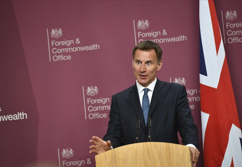 Britain's Foreign Secretary Jeremy Hunt speaks during a joint press conference with US Secretary of State Mike Pompeo at the Foreign Office in central London, Wednesday May 8, 2019. (Mandel Ngan/Pool via AP)
