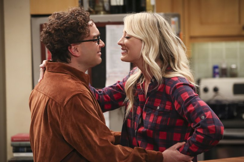 This image released by CBS shows Johnny Galecki, left, and Kaley Cuoco in a scene from the series finale of