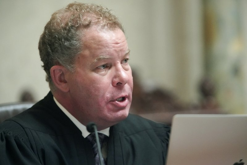 Wisconsin Supreme Court Justice Daniel Kelly speaks during oral arguments in 2019AP559, League of Women Voters v. (Steve Apps/Wisconsin State Journal via AP)