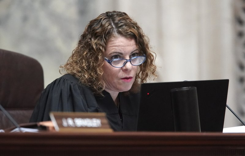 Wisconsin Supreme Court Justice Rebecca Dallet listens during oral arguments before the Wisconsin Supreme Court in 2019AP559, League of Women Voters v. (Steve Apps/Wisconsin State Journal via AP)