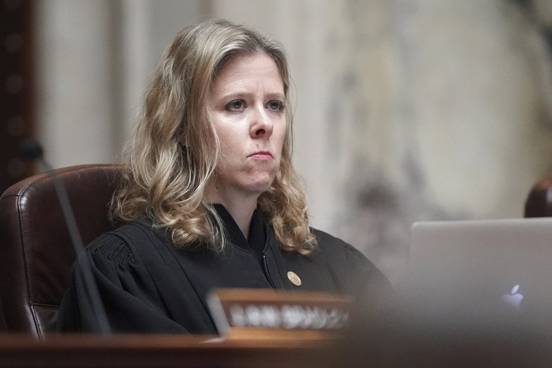 Justice Rebecca Bradley listens during the oral arguments at the Wisconsin Supreme Court in 2019AP559, League of Women Voters v. (Steve Apps/Wisconsin State Journal via AP)
