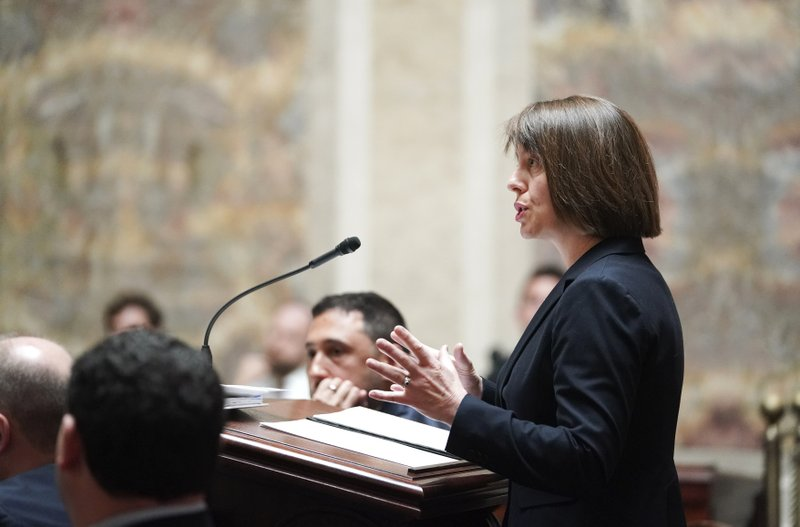 Tamara Packard, an attorney for a coalition of liberal-leaning groups, speaks during the oral arguments before the Wisconsin Supreme Court  in 2019AP559, League of Women Voters v. (Steve Apps/Wisconsin State Journal via AP)