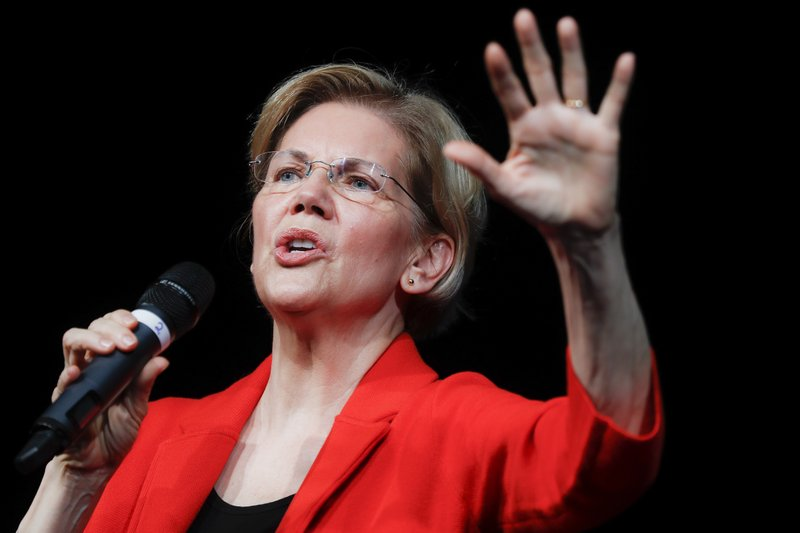 Democratic presidential candidate Sen. Elizabeth Warren, D-Mass., speaks during a campaign stop, Saturday, May 11, 2019, in Cincinnati. (AP Photo/John Minchillo)