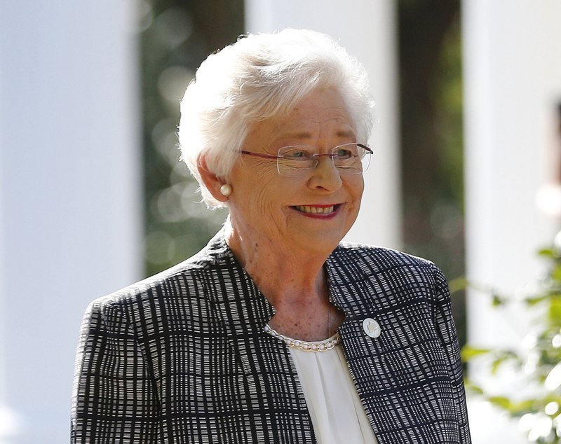 FILE - In this Nov. 17, 2017, file photo, Alabama Gov. Kay Ivey speaks to the media in Montgomery, Ala. (AP Photo/Brynn Anderson, File)
