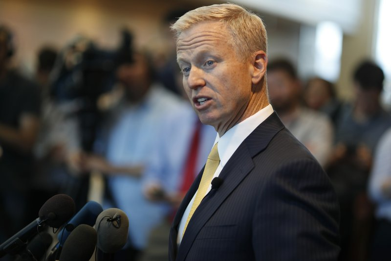 District Attorney George Brauchler makes a point during a news conference after a court hearing for the suspects in the STEM Highlands Ranch School assault Wednesday, May 15, 2019, in Castle Rock, Colo. (AP Photo/David Zalubowski)