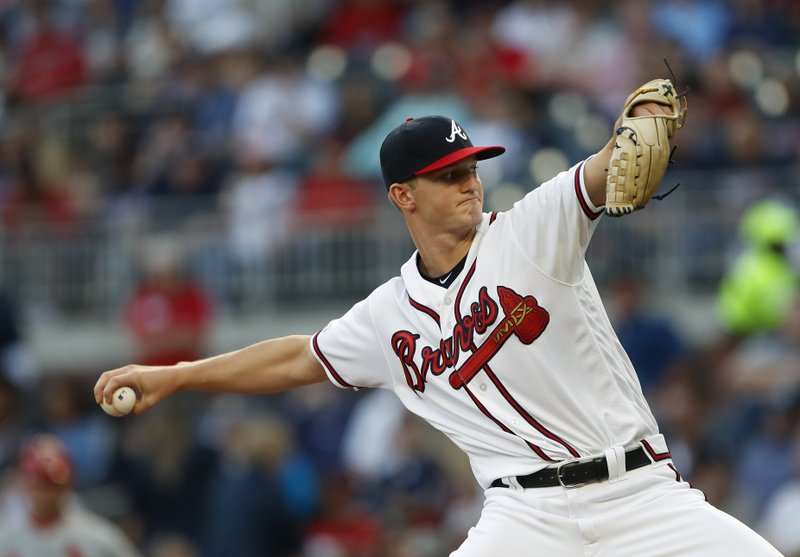 Atlanta Braves starting pitcher Mike Soroka (40) works against the St. Louis Cardinals in the first inning of a baseball game Wednesday, May 15, 2019, in Atlanta. (AP Photo/John Bazemore)