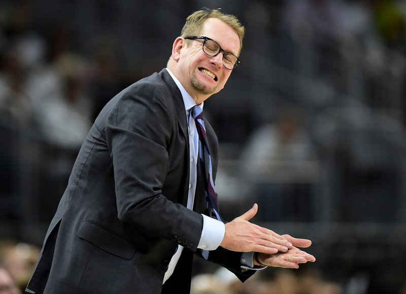 Toronto Raptors coach Nick Nurse reacts during the second half in Game 1 of the team's NBA basketball playoffs Eastern Conference final against the Milwaukee Bucks in Milwaukee on Wednesday, May 15, 2019. (Frank Gunn/The Canadian Press via AP)