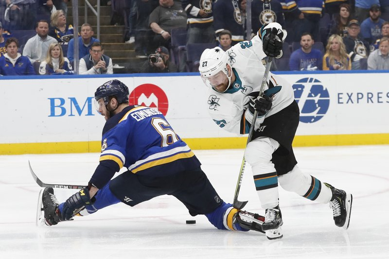 San Jose Sharks right wing Joonas Donskoi (27), of Finland, moves the puck past St. Louis Blues defenseman Joel Edmundson (6) during overtime in Game 3 of the NHL hockey Stanley Cup Western Conference final series Wednesday, May 15, 2019, in St. (AP Photo/Jeff Roberson)