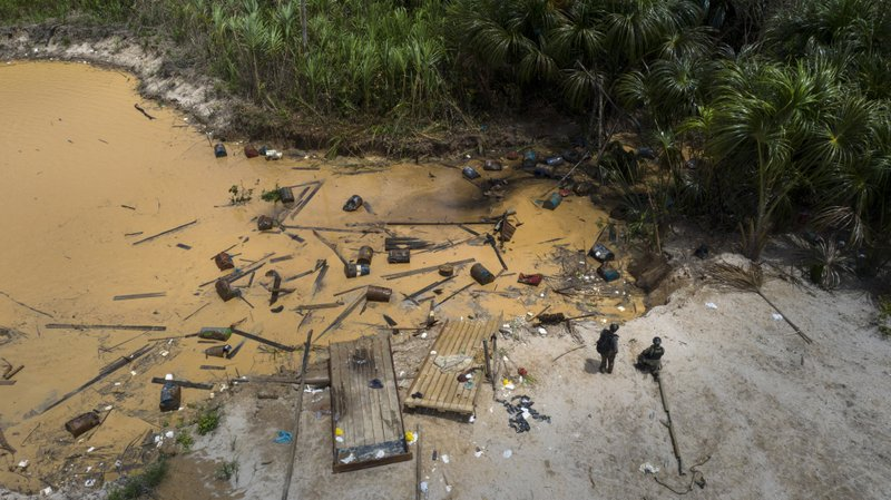 This March 27, 2019 photo shows an illegal mining camp destroyed by members of