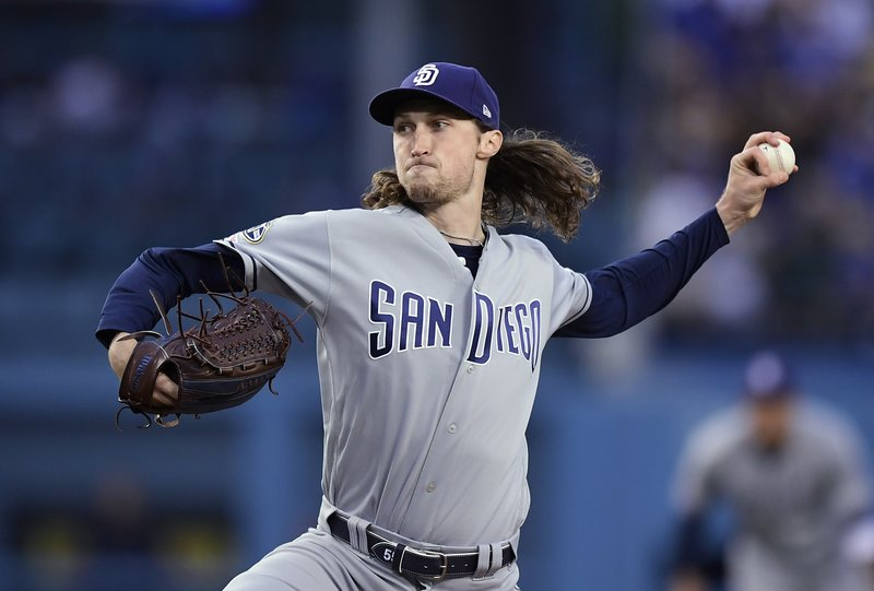 San Diego Padres starting pitcher Matt Strahm throws to the plate during the first inning of a baseball game against the Los Angeles Dodgers on Wednesday, May 15, 2019, in Los Angeles. (AP Photo/Mark J. Terrill)