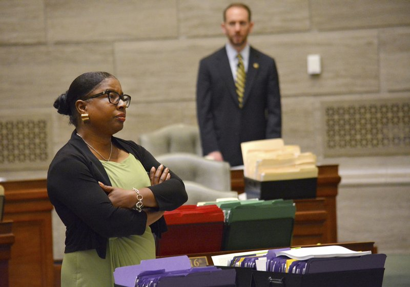 During debate in the Missouri Senate in Jefferson City Wednesday, May 15, 2019, Freshman senator, Karla May, D-St. (Sally Ince/The Jefferson City News-Tribune via AP)