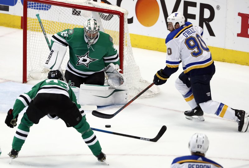 Dallas Stars goaltender Anton Khudobin (35) defends against pressure from St. Louis Blues center Ryan O'Reilly (90) as Esa Lindell (23) helps on the play in the third period of Game 6 of an NHL second-round hockey playoff series in Dallas, Sunday, May 5, 2019. (AP Photo/Tony Gutierrez)