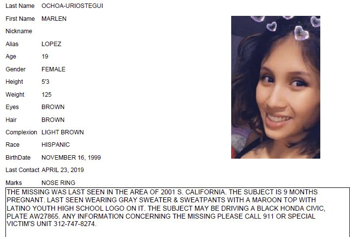 CORRECTS VICTIM'S LAST NAME TO OCHOA-LOPEZ INSTEAD OF OCHOA-URIOSTEGUI - This undated Chicago Police missing person flier shows Marlen Ochoa-Lopez. (Chicago Police/Chicago Tribune via AP)