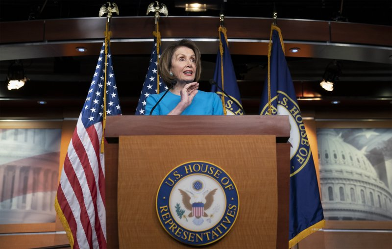 Speaker of the House Nancy Pelosi, D-Calif., meets with reporters at her weekly news conference at the Capitol in Washington, Thursday, May 16, 2019. (AP Photo/J. Scott Applewhite)