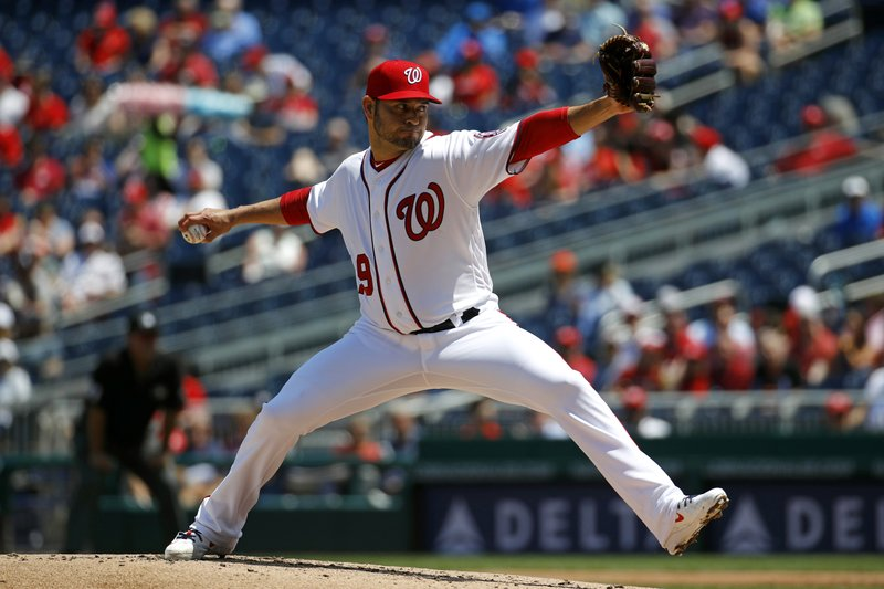 Washington Nationals starting pitcher Anibal Sanchez throws to the New York Mets in the second inning of a baseball game, Thursday, May 16, 2019, in Washington. (AP Photo/Patrick Semansky)