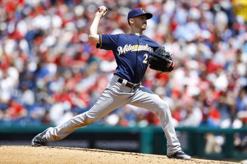 Milwaukee Brewers' Zach Davies pitches during the third inning of a baseball game against the Philadelphia Phillies, Thursday, May 16, 2019, in Philadelphia. (AP Photo/Matt Slocum)