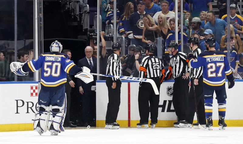 St. Louis Blues goaltender Jordan Binnington (50) and defenseman Alex Pietrangelo (27) argue against the winning goal by the San Jose Sharks in overtime of Game 3 of the NHL hockey Stanley Cup Western Conference final series Wednesday, May 15, 2019, in St. (AP Photo/Jeff Roberson)