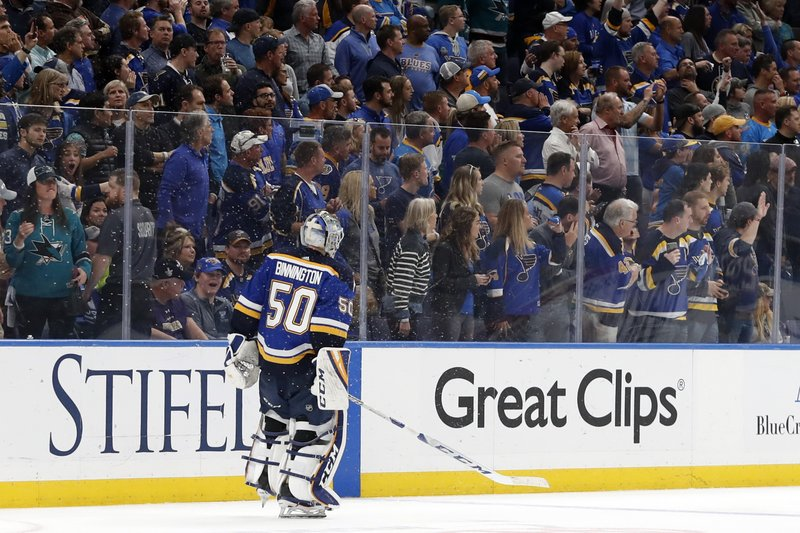 St. Louis Blues goaltender Jordan Binnington skates off the ice after the San Jose Sharks beat the Blues in overtime of Game 3 of the NHL hockey Stanley Cup Western Conference final series Wednesday, May 15, 2019, in St. (AP Photo/Jeff Roberson)