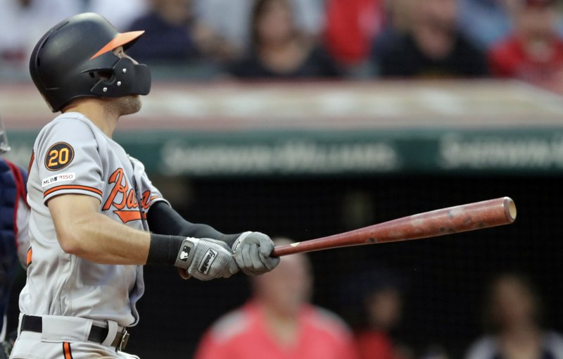 Baltimore Orioles' Stevie Wilkerson watches his ball after hitting a two-run double off Cleveland Indians starting pitcher Trevor Bauer in the fifth inning of a baseball game, Thursday, May 16, 2019, in Cleveland. Trey Mancini and Jonathan Villar scored on the play. (AP Photo/Tony Dejak)