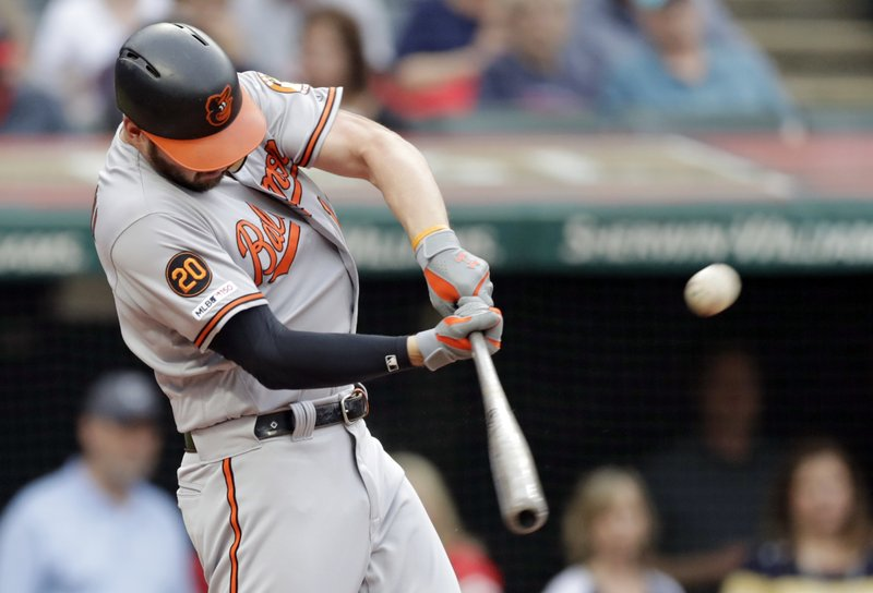 Baltimore Orioles' Trey Mancini hits a three-run home run off Cleveland Indians starting pitcher Trevor Bauer in the third inning of a baseball game, Thursday, May 16, 2019, in Cleveland. Jonathan Villar and Dwight Smith Jr. scored on the play. (AP Photo/Tony Dejak)