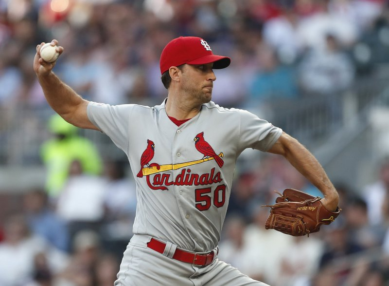 St. Louis Cardinals starting pitcher Adam Wainwright (50) works in the first inning of a baseball game against the Atlanta Braves Thursday, May 16, 2019, in Atlanta. (AP Photo/John Bazemore)