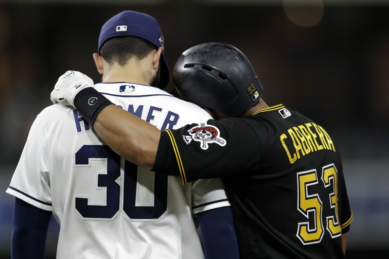 Pittsburgh Pirates' Melky Cabrera, right, embraces San Diego Padres first baseman Eric Hosmer after being walked during the sixth inning of a baseball game Thursday, May 16, 2019, in San Diego. (AP Photo/Gregory Bull)