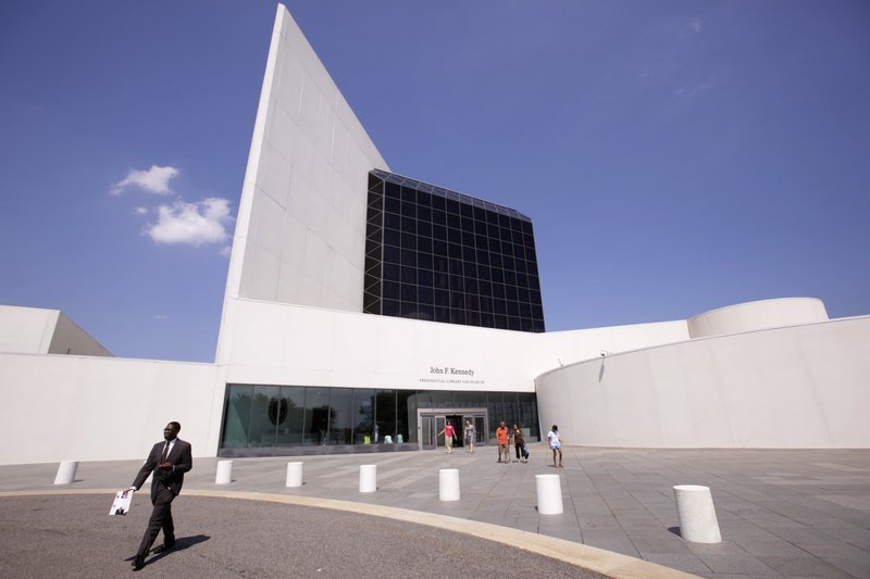 FILE - This Aug. 19, 2009, file photo shows the entrance of the John F. Kennedy Presidential Library and Museum, designed by architect I.M. Pei, in Boston. Pei, the globe-trotting architect who revived the Louvre museum in Paris with a giant glass pyramid and captured the spirit of rebellion at the multi-shaped Rock and Roll Hall of Fame, has died at age 102, a spokesman confirmed Thursday, May 16, 2019. (AP Photo/Steven Senne, File)