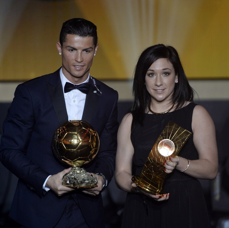 FILE - In this Monday, Jan, 12, 2015 file photo, Cristiano Ronaldo, left, of Portugal, and Nadine Kessler of Germany pose after winning the FIFA soccer player of the year 2014 prize at the FIFA Ballon d'Or awarding ceremony at the Kongresshaus in Zurich, Switzerland. UEFA launched its five-year development plan for women's soccer Friday May 17, 2019, in a breakthrough season leading to the World Cup in France. The strategy document, Time for Action, sets out how the European soccer body aims to double the number of women and girls playing, and change perceptions of their game. (Walter Bieri/Keystone via AP, File)