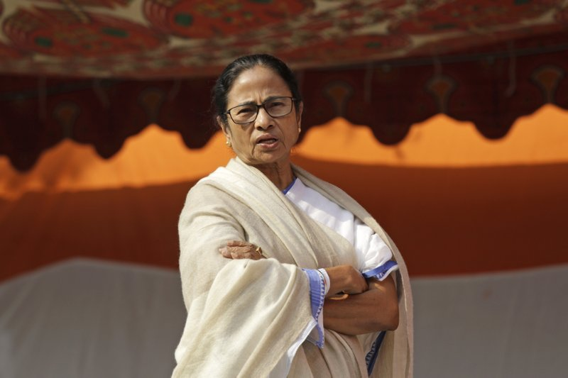 In this Feb. 4, 2019 photo, Chief Minister of West Bengal state Mamata Banerjee attends a protest in Kolkata, India. India's Prime Minister Narendra Modi has taken his Bharatiya Janata Party's fight to the state of West Bengal, where it hopes to retain a majority in staggered general elections concluding May 19 by diluting the strength of a formidable opponent, chief minister Mamata Banerjee. (AP Photo/Bikas Das)