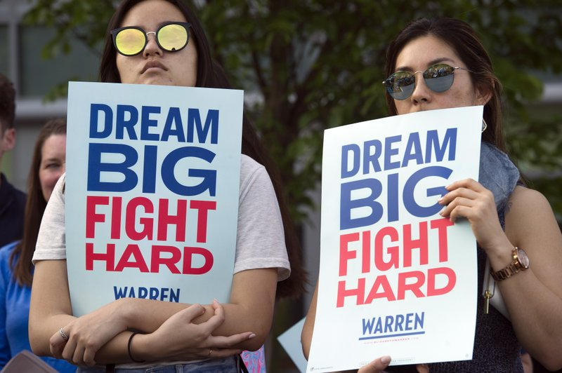 Supporters of Democratic presidential candidate Sen. Elizabeth Warren, D-Mass., listen as she addresses a campaign rally at George Mason University in Fairfax, Va., Thursday, May 16, 2019. (AP Photo/Cliff Owen)