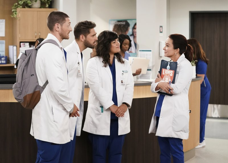 This image released by CBS shows, from left, Lucas Neff, Jean-Luc Bilodeau, Sabrina Jalees and Patricia Heaton from the comedy